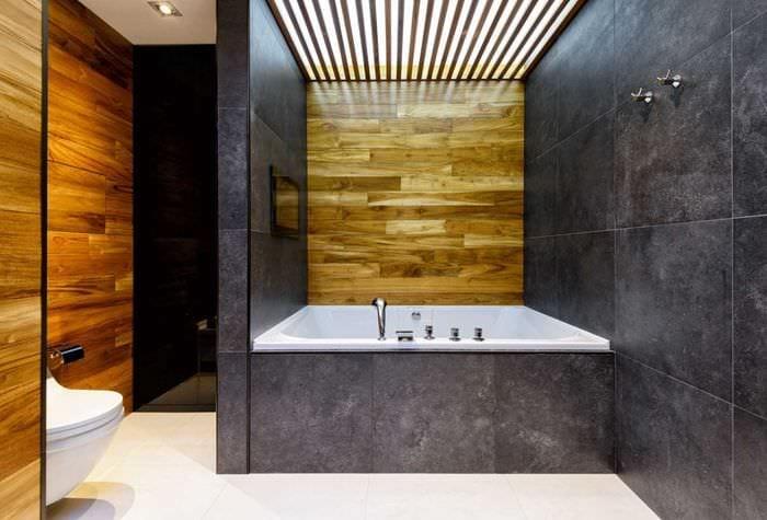 вариант современного дизайна большой ванной комнаты