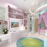 вариант красивого дизайна детской комнаты для девочки фото