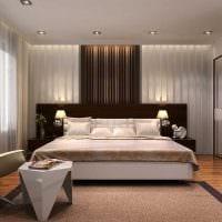 вариант необычного дизайна белой спальни картинка