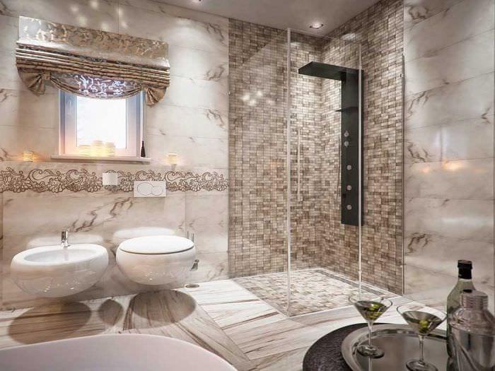 вариант современного дизайна ванной 2017