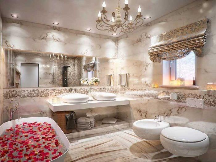 идея современного дизайна ванной с окном