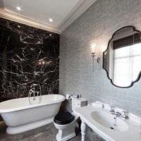 вариант яркого стиля ванной комнаты в черно-белых тонах фото