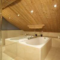 идея яркого стиля ванной комнаты в деревянном доме картинка