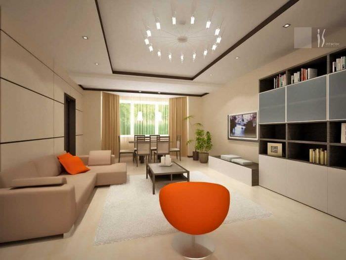 идея яркого декора гостиной комнаты в современном стиле