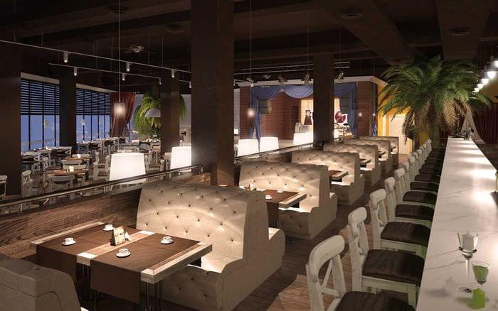вариант красивого интерьера ресторана в стиле лофт