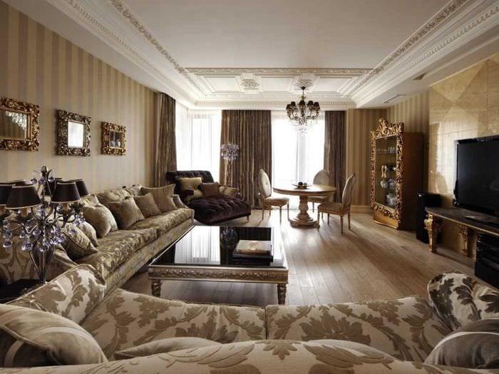 вариант яркого стиля квартиры в стиле современная классика