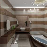 идея необычного дизайна ванной комнаты с угловой ванной картинка