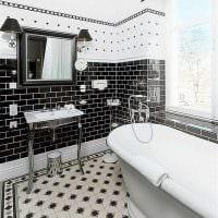 вариант необычного интерьера ванной в черно-белых тонах картинка