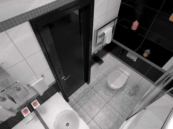 идея современного дизайна ванной в черно-белых тонах