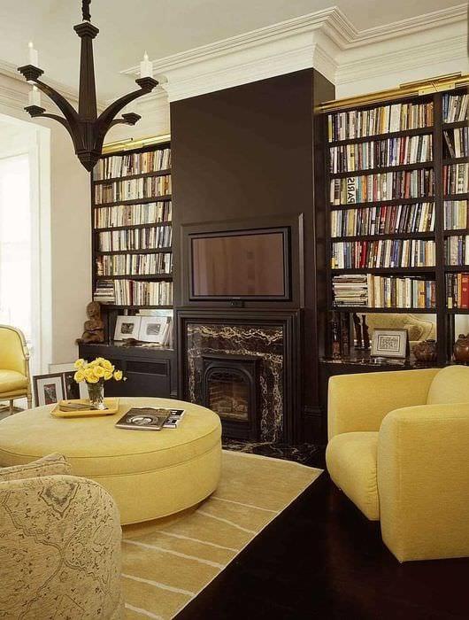 вариант сочетания яркого коричневого цвета в стиле гостиной