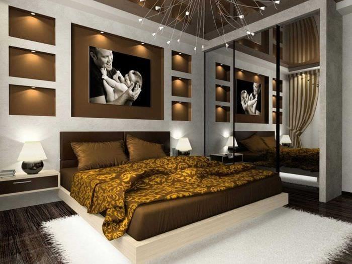 идея сочетания яркого коричневого цвета в интерьере гостиной