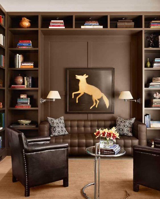 вариант сочетания яркого коричневого цвета в стиле спальни