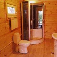вариант яркого интерьера ванной комнаты в деревянном доме картинка