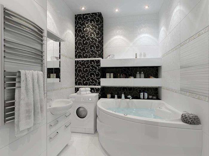 вариант яркого стиля ванной комнаты в черно-белых тонах