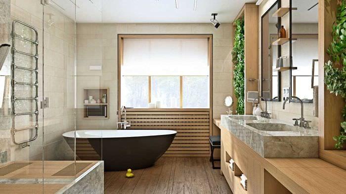 идея необычного интерьера ванной комнаты с окном