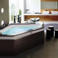вариант современного дизайна ванной с угловой ванной фото