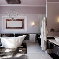 вариант современного стиля ванной в черно-белых тонах картинка