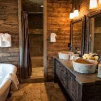 вариант красивого дизайна ванной комнаты в деревянном доме фото