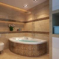 идея красивого интерьера ванной комнаты с угловой ванной фото