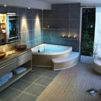вариант необычного дизайна ванной с угловой ванной картинка