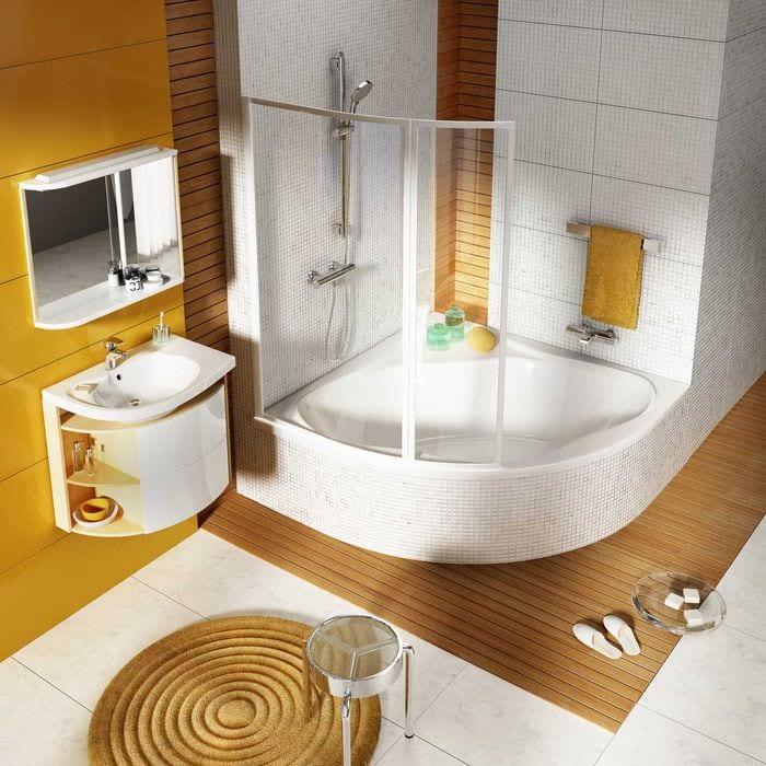 идея необычного стиля ванной с угловой ванной