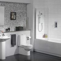 идея яркого дизайна ванной комнаты в черно-белых тонах фото