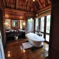 идея необычного стиля ванной в деревянном доме картинка