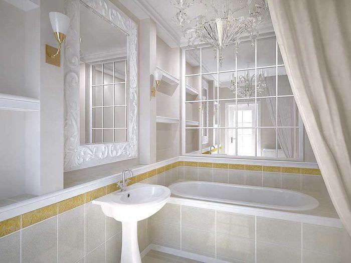 вариант красивого интерьера большой ванной комнаты