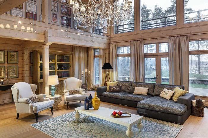 вариант современного стиля дома со вторым светом