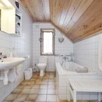 идея красивого дизайна ванной с окном фото