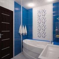 идея современного стиля ванной комнаты с угловой ванной фото