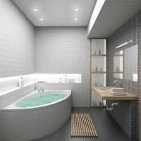 идея современного интерьера ванной с угловой ванной фото
