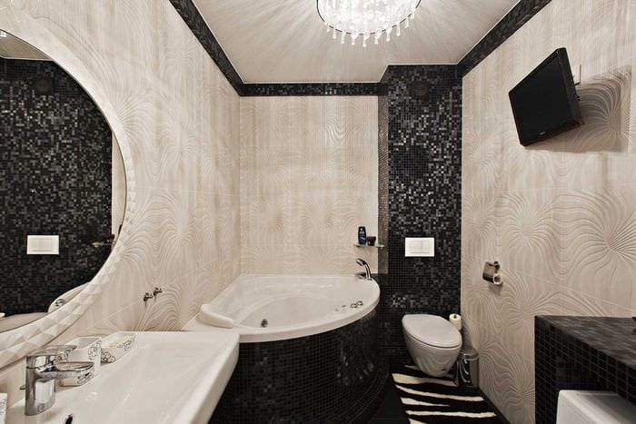 идея современного интерьера ванной с угловой ванной