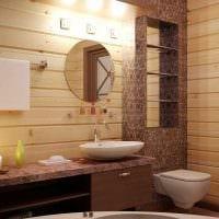 вариант яркого стиля ванной в деревянном доме фото