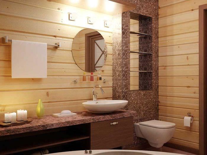 Санузел в деревянном доме фото дизайн