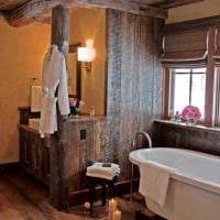 идея необычного дизайна ванной комнаты в деревянном доме картинка