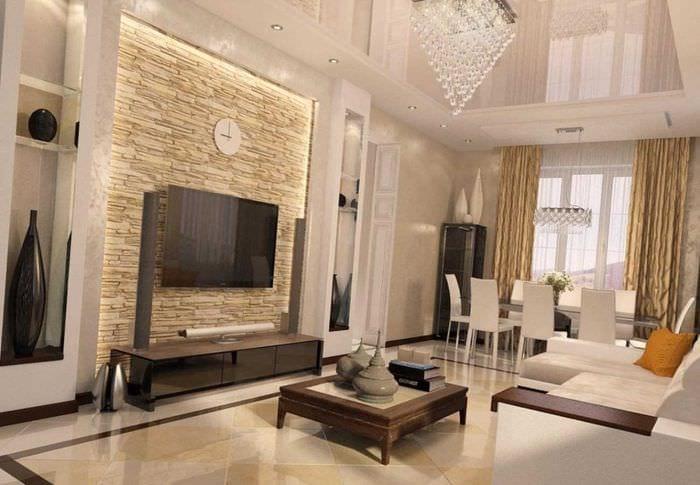 идея необычного дизайна гостиной комнаты в современном стиле
