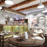 идея необычного дизайна ресторана в стиле лофт фото