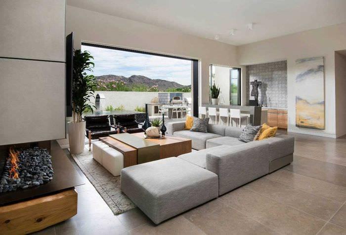 идея яркого стиля гостиной в современном стиле
