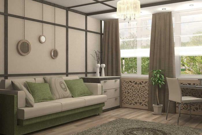 вариант необычного декора гостиной комнаты в современном стиле