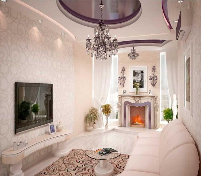 вариант яркого интерьера комнаты в стиле современная классика