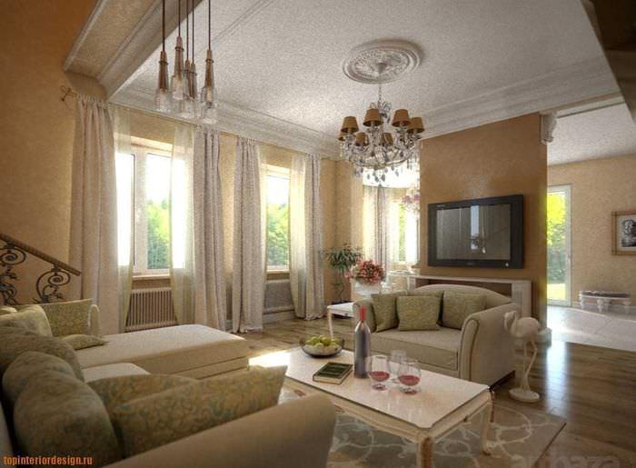 идея яркого стиля гостиной в частном доме