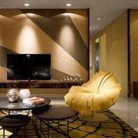 вариант красивого декора гостиной комнаты в современном стиле фото