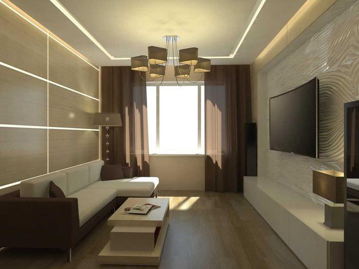 идея светлого дизайна гостиной комнаты в современном стиле