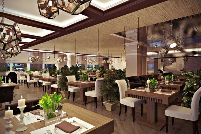 вариант светлого стиля ресторана в стиле лофт