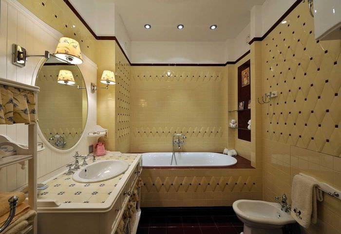 вариант красивого дизайна ванной в классическом стиле