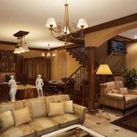 вариант красивого стиля зала в частном доме фото