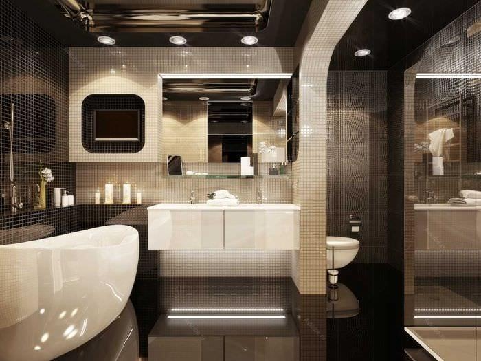 идея необычного стиля большой ванной