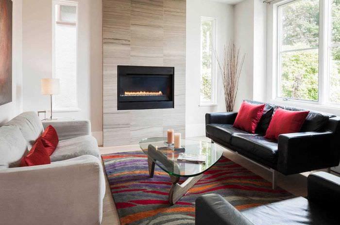 вариант красивого интерьера гостиной в современном стиле
