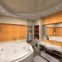 идея яркого интерьера ванной комнаты с угловой ванной фото